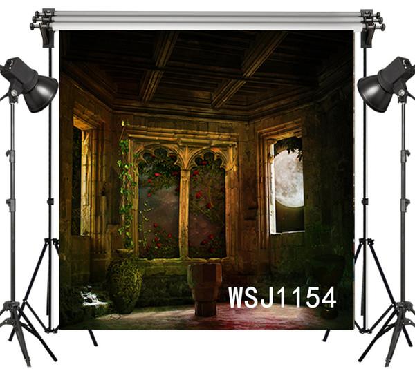 all'ingrosso Vinile in poliestere Halloween Vintage Castello Balcone fondali sognanti sfondo per fotografia studio sfondo foto puntelli