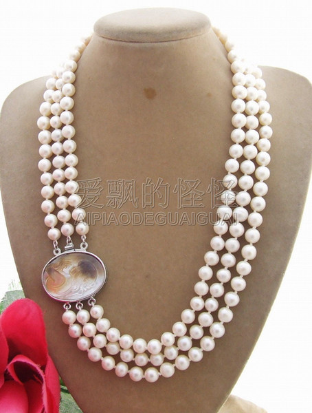 N110705 Excellent! 7mm White Pearl Necklace