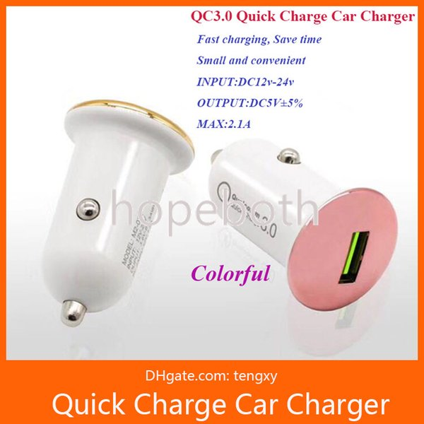 QC 3.0 3A Mini smart USB Car Charger Quick Charge Mobile Phone Car-charger Adapter Universal for iPhone Samsung Xiaomi phone gps