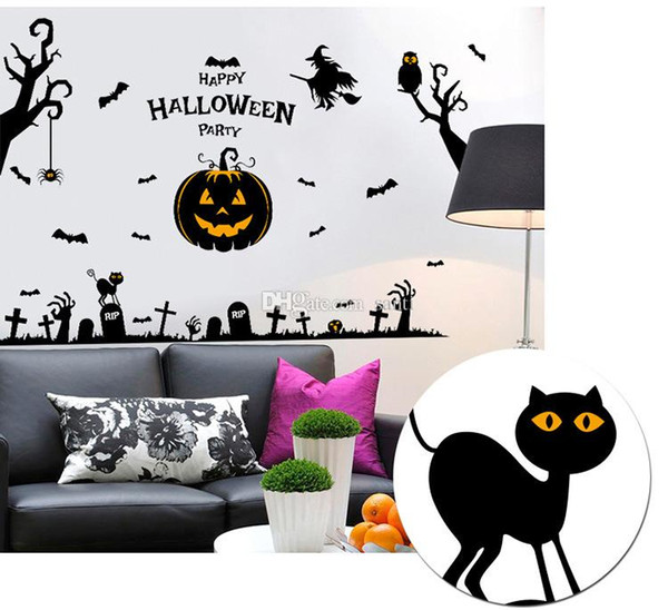 Halloween supplies wall poster Glass is stuck Pumpkin decoration pinup picture