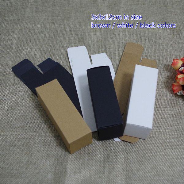 100pcs 30ml 3x3x12cm White Black Kraft Paper Box Diy Lipstick Perfume Essential Oil Bottle Packaging Boxes Valve Tube Package