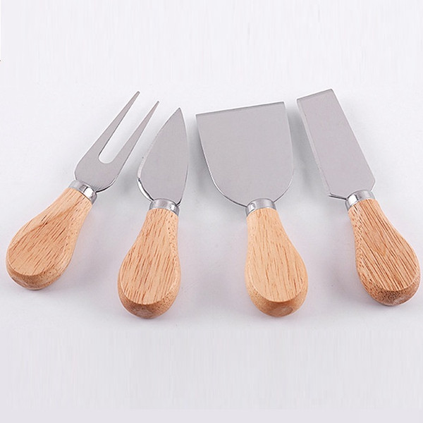 best selling Cariel 4pcs set Cheese Useful Tools Set Oak Handle Knife Fork Shovel Kit Graters For Cutting Baking Chesse Board Sets WN348b