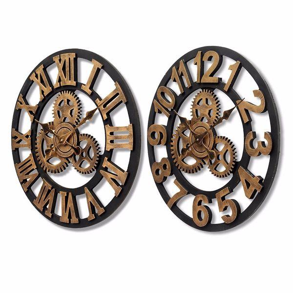 Charminer Handmade Oversized 3D Retro Rustic Decorative Luxury Art Big Gear Wooden Vintage Large Wall Clock Hot Sale