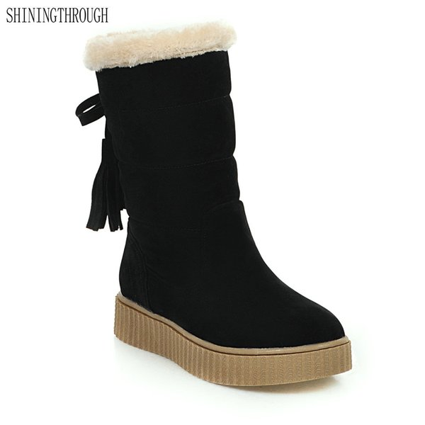 2018 New fashion mid-calf boots flat women boots winter warm snow boots casual tassel shoes woman black beige yellow