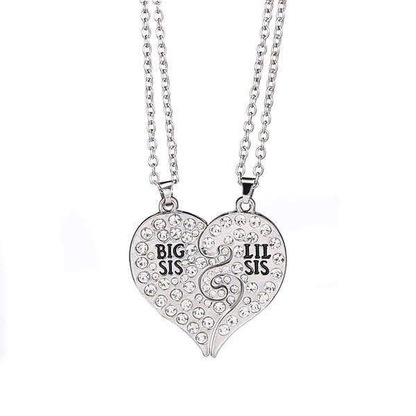2017 new Big Sis Lil Sis Big Sister Little Sister BFF Best Friends Forever Gold silver Broken Heart Rhinestone Necklace Sister Gift