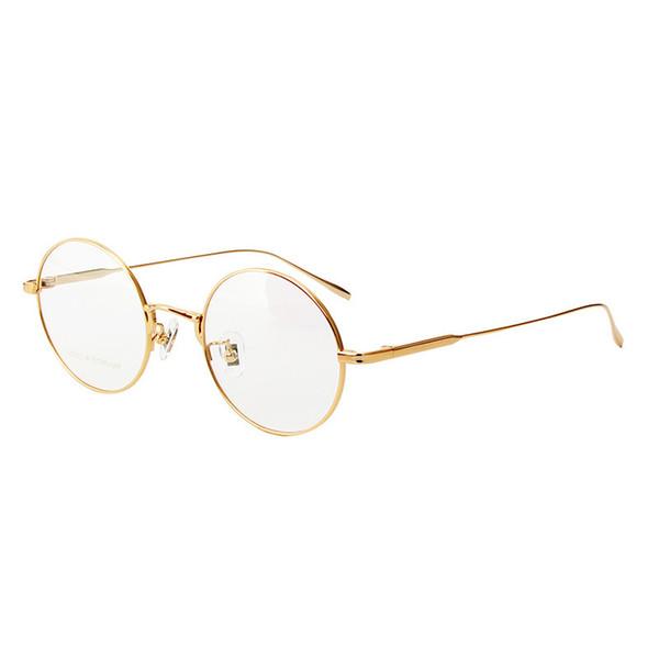 b9a9017e1c Чистая рамка с титановым очком Круглые очки для мужчин и женщин Старинные  полные рамки для рамок Металлические оправы для очков