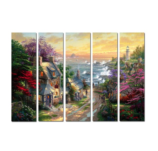 5 Pieces Thomas Kinkade Landscape Oil Paintings Art High Quality HD Print On Canvas Decor Modern Art Home Art Living Room Decoration