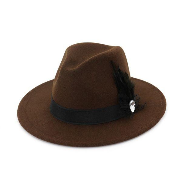 Wide Brim Wool Felt Formal Party Jazz Trilby Fedora Hats Feather Band Decoration Men Women Floppy Gambler Hat