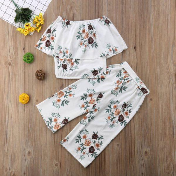 2pcs Toddler Kids Baby Girl Off Shoulder Floral Tops+Wide Leg Bandage Pants Outfit Clothes Sunsuit Cotton Clothing Set