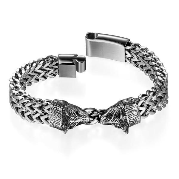 BONISKISS Men's Dual Wolf Head Charm Bracelet Magnetic Clasp Stainless Steel Link Chain Bangle Bracelets 22.5cm