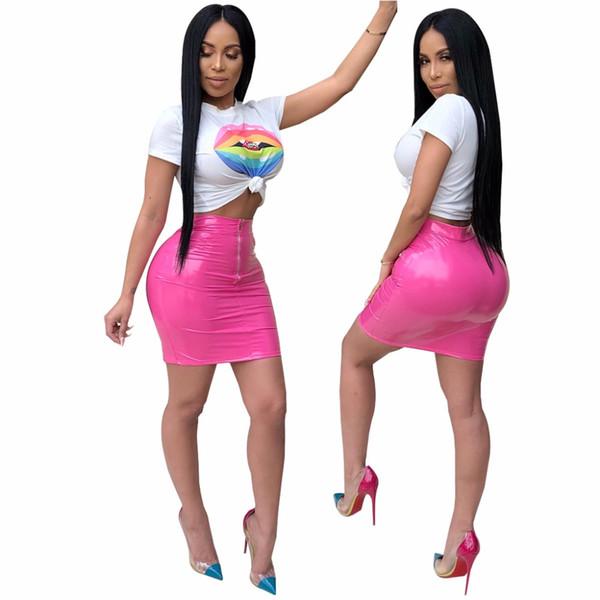 2018 Yeni Yaz Seksi 2 Parça Set Kadın Kısa Kollu T Shirt ve PU Deri Mini Etekler Ladies'Suit Clubwear