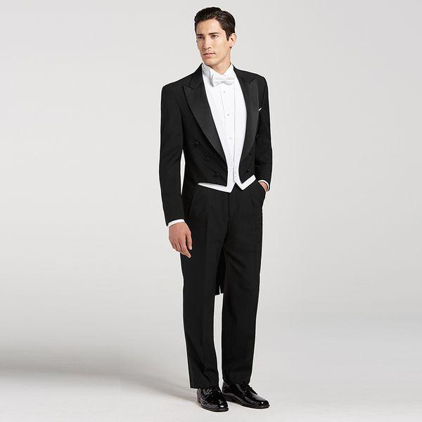Acheter Hommes Noirs Costumes Queue De Pie Revers Revers Veste Vintage Double Boutonnage Costume Fête De Mariage Étape Bal Élégant Ternos Mâles 3