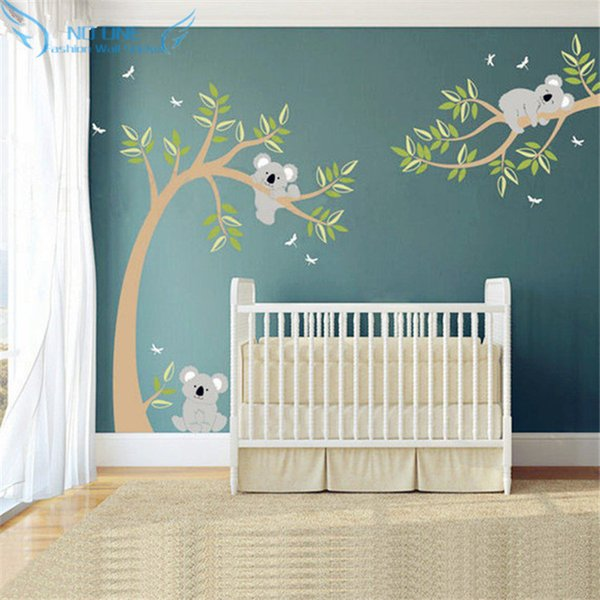 Koala And Branch Wall Sticker Koala Tree Wall Decal With Dragonflies Bear Decal for Baby Nursery, Kids, Children Room