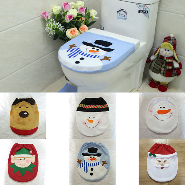10 design Christmas Decorations For Home Snowman Santa Claus Toilet Seat Cover Toilet lid Elf New Year Xmas Christmas Ornaments