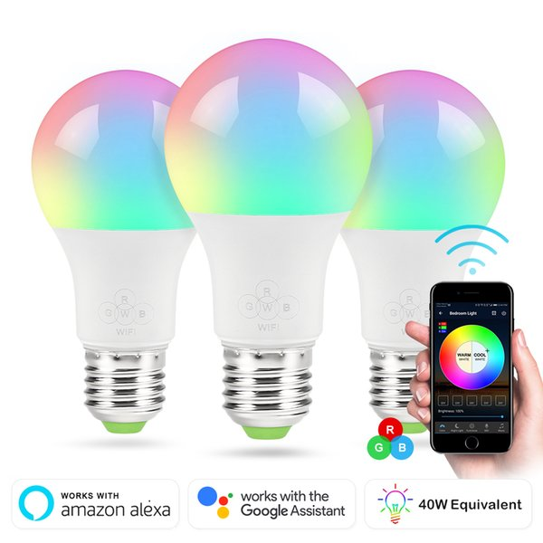 Smart wifi led bulb rgb 4 5w dimmable led bulb light bulb work with alexa google home16 million colour app remote control