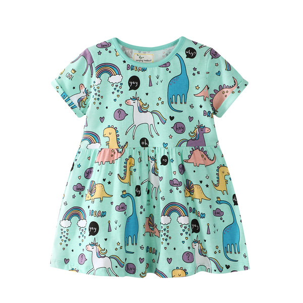 top popular New Arrival Summer Girls Dresses Children Animal Unicorn Cartoon Pattern Cotton Party Costume Fashion Kids Clothes 2020