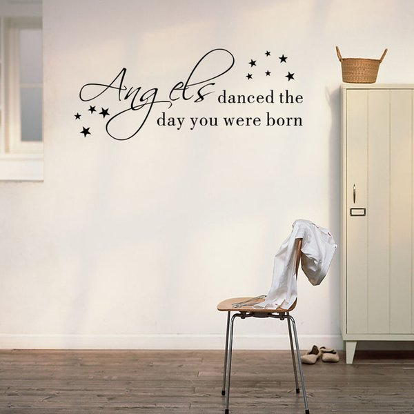 """""""Angels danced the day you were born"""" Nursery Kid's Bedroom Decorative Wall Stickers PVC Self-adhesive Wallpapers Waterproof Can Removable"""