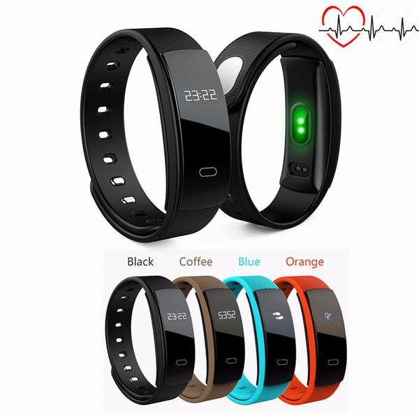Para iphone sumsung Para Android iOS QS80 Medición de presión de banda inteligente Monitor de ritmo cardíaco Podómetro Reloj Pulsera con pulsador de ejercicio de Fitness