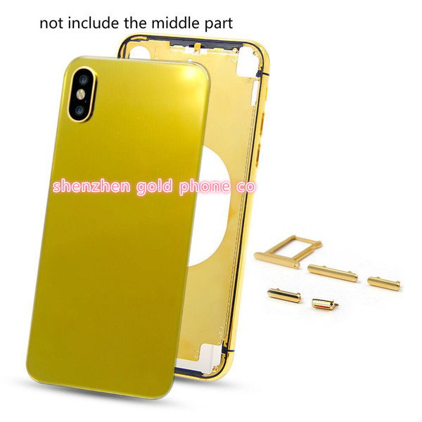 Change 7G to X Back Housing with Metal Frame Battery Door Replacement for iPhone x real gold Gold housing back part metal Free Shipping