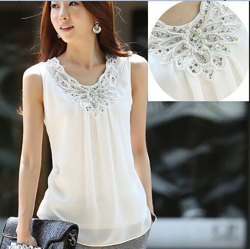 Summer Women Blouse shirts Ladies Casual Sleeveless Sparkling diamond chiffon lace blouses Plus Size women shirt Tops