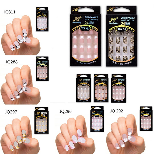 best selling 24 pcs Stunning Designs French False Nails ABS Resin Fake Nail Set Full Manicure Art Tips