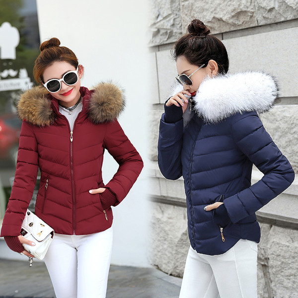 top popular Winter Jacket Women Parkas for Coat Fashion Female Down Jacket With a Hood Large Faux Fur Collar Coat 2018 Autumn Outwear Ladies Y1891707 2020