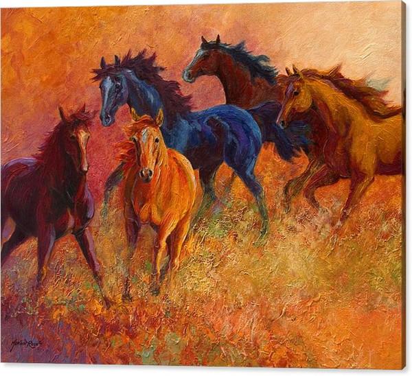 Acheter Youme Art Giclée Animal Le Besoin De Fusionner Des Chevaux Sauvages Peinture à L Huile Arts Et Toile Décoration Murale Art Peinture à L Huile