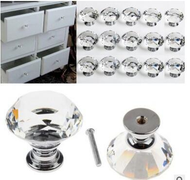 30mm Glass Cabinet Knob Drawer Shiny Polished Chrome Pull Handle Kitchen Door Wardrobe Hardware Used For Chest Bin Dresser