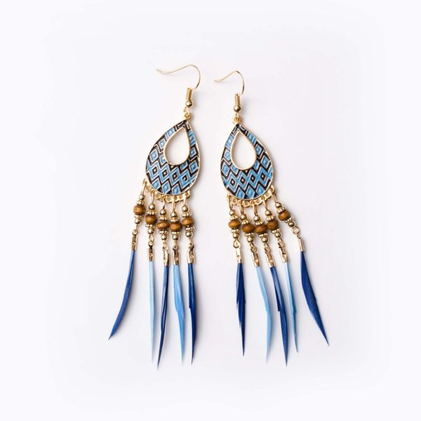 Yobest Cross-border models Europe United States retro holiday wind drop Earrings for women Bohemian feathers long earring