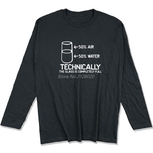 Engraçado Imprimir Homens O-pescoço Camisas de Manga Longa Tecnicamente O Vidro é Completamente Ciência Sarcasmo Legal Humor T-shirt Tees Tops