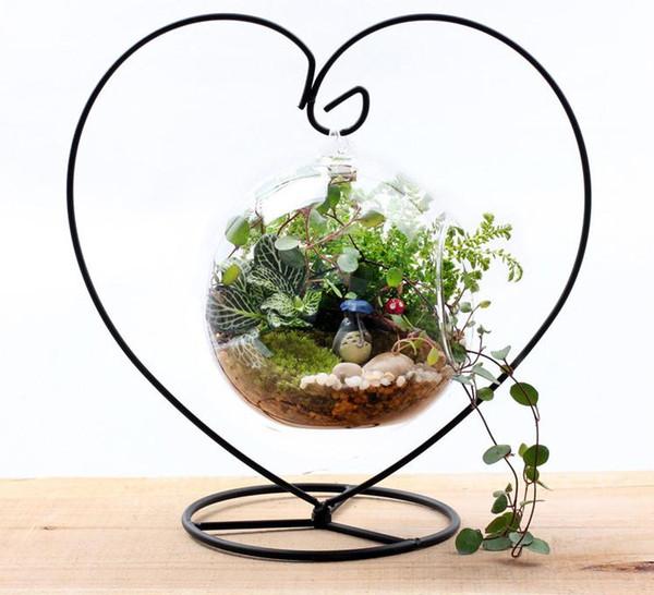 23cm Heart Shape Iron Metal Hook Hanger For 8cm 10cm 12cm Round Glass Bubble Vase Terrarium Holder free shipping