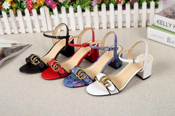 Xiuchun852 Qualität Top Letter Metallschnalle 5 CM Schuhe mit hohen Absätzen Echtes Leder Mode Frau Starke Ferse Sandalen Mit Box