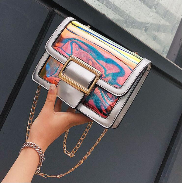 Women Bag Set Laser Holographic Jelly Clear Transparent Bags Women Handbags Pu Leather+PVC Totes Shoulder Bags Beach Bag Free shipping