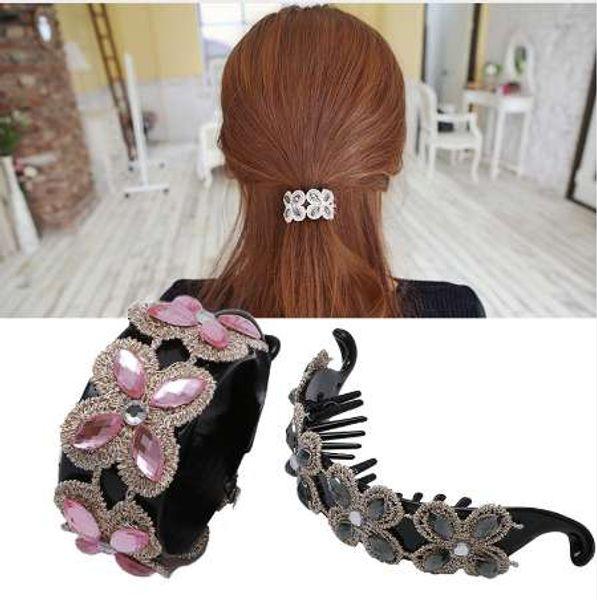 top popular Women Rhinestone Gem Flower Hair Clip Claw Scrunchie Ponytail Hairband Holder 2019
