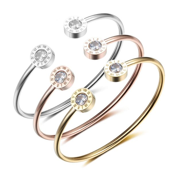 Wholesale- Cuff Bracelets & Bangles Stainless Steel Love Bracelet For Women Roman Numerals 3 Color Jewelry Best Gifts(BA101841)