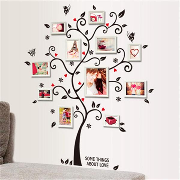 Wall Sticker decorazione della parete della foto di famiglia Albero Cornice Citazione Immagine rimovibile Art adesivi in vinile decalcomanie della decorazione domestica Cornici Albero Per Camera