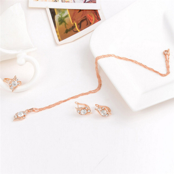 46cm Wedding Jewelry Set Rose Gold Chain Crystal Necklace Ring Earring Fashion 3pcs/set Woman's Birthday Gift Jewelry