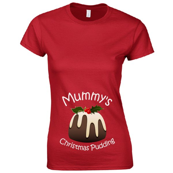 Mummys Christmas Pudding Ladies T shirt Baby Funny Pregnant Gift Tshirt Top
