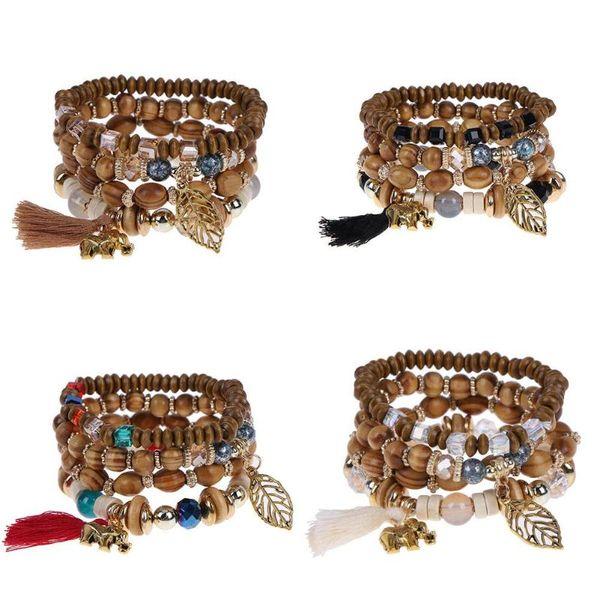 4pcs/set Multilayer Wood Beads Tassel and Leaf Charm Jewelry Strand Stretch Boho Yoga Mala Bracelets Bangles Chain for Women