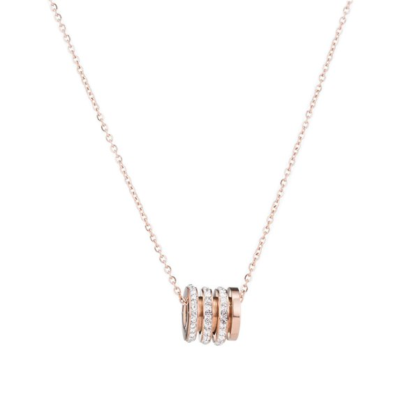 Creative Diamond-studded Small Red Titanium Steel Necklace Explosion Models Rose Gold Clavicle Chain