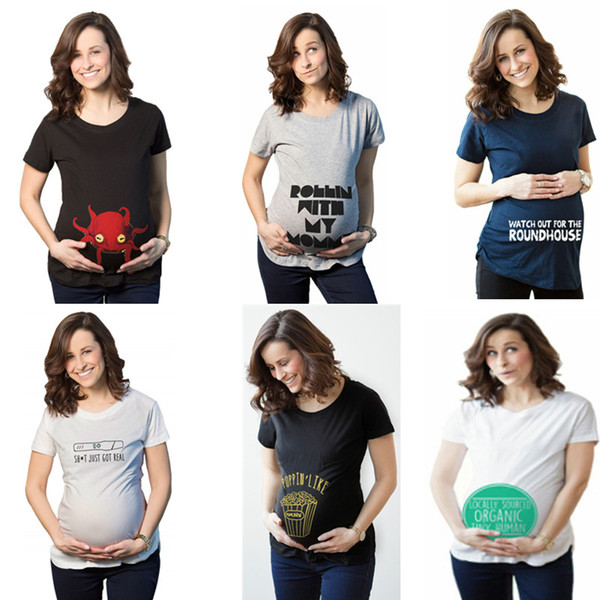 278068efe1a9e Casual Print funny maternity pregnant T shirts Women Cotton Cute Pregnancy  Tees Maternity Clothes Summer T