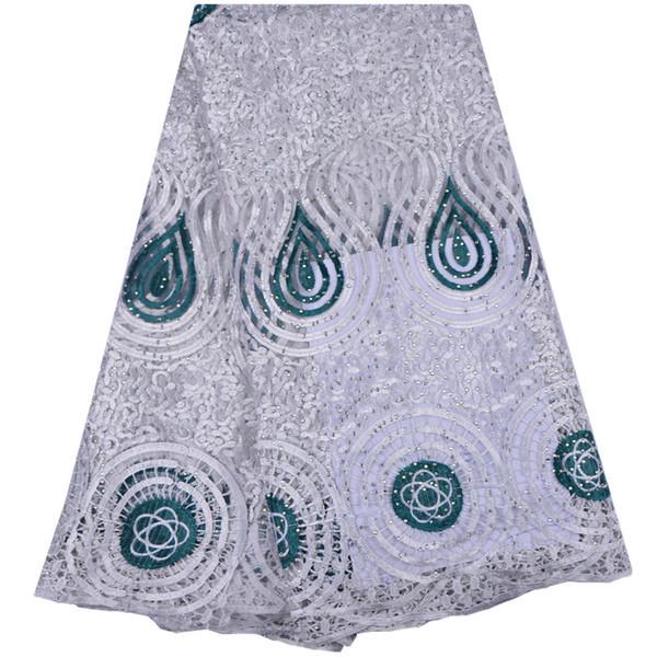 Tessuto di pizzo francese africano di alta qualità pizzo netto nigeriano ricamato con tessuto di pizzo guipure 5 metri per Lady Dress 1310