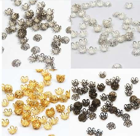 300Pcs/lot Pick 4 Colors 5Leaf Hollow Flower End Beads Caps 10mm Jewelry Findings Making DIY Jewelry Supplies
