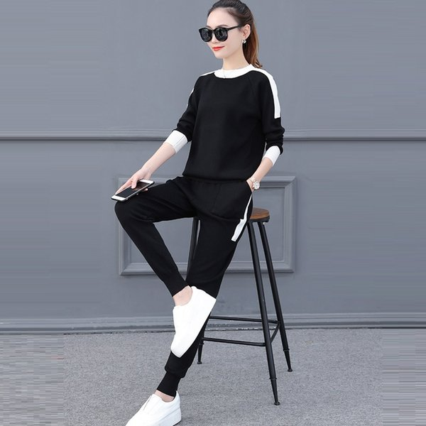 Sweat suits Women New 2018 Autumn Winter Fashion Casual Full Sweater Suit Long Sleeve Knitwear Top and Pants Two Piece Set