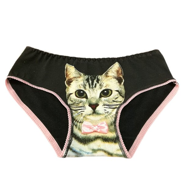 1pc Sexy Cute Pussycat Women Girls Panties Anti Emptied Cat Printing Briefs Underwear Soft Comfortable 5 Colors