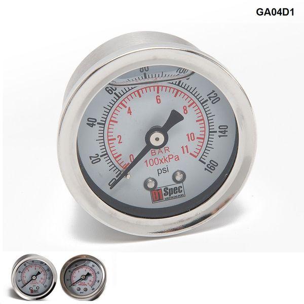 Tansky - Medidor de presión de combustible universal líquido 0-160 psi Medidor de presión de aceite Medidor de combustible White Face TK-GA01
