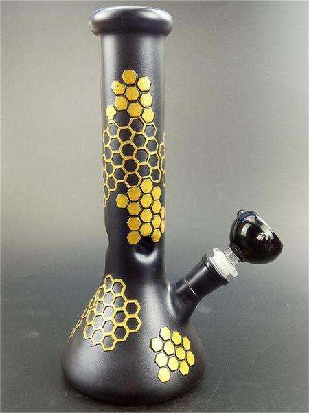Bee Reseau Black Beaker Glass Bong Skull Glass Oil Burner Pipes Free Male-Bowl Dab Rig Glass Bongs Water Pipes Hookah