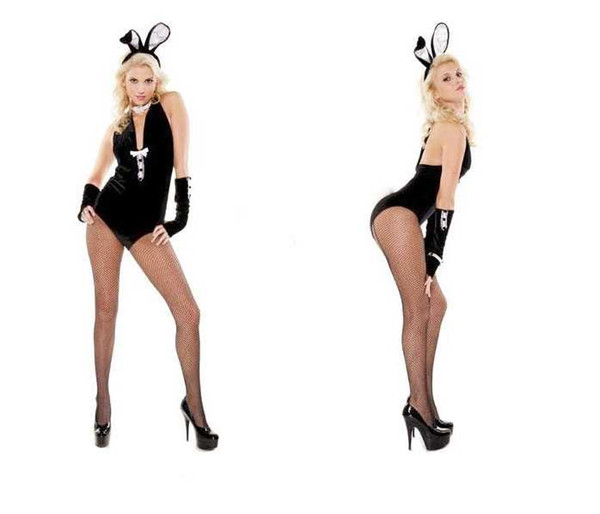best selling Free Shipping New sexy lingerie cosplay Halloween Nightclub DS-neck dance costume Siamese bunny performance costume Siamese rabbit