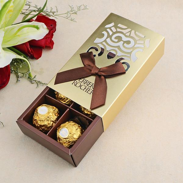 50 adet FERRERO ROCHER Kutuları Düğün Şekeri Tatlı Hediyeler Çanta Parti Malzemeleri Bebek Duş Ferrero Çikolata Şeker Kutusu