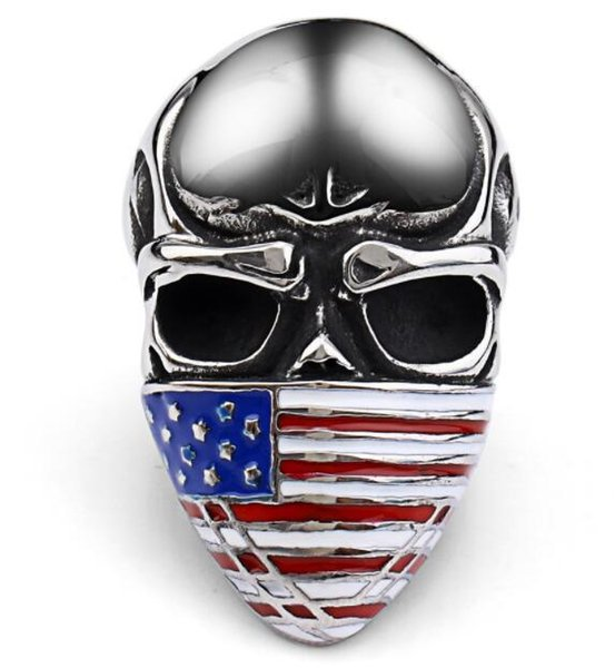 stainless steel soldier new style skull ring American flag mask ring fashion biker heavy skull 316L steel jewelry